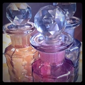 Vintage Gorgeous Colored Cut to Clear 3 Bottle Set